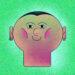 Gezeichnetes Portrait, runder Kopf, kurze Haare, lächelender Mund